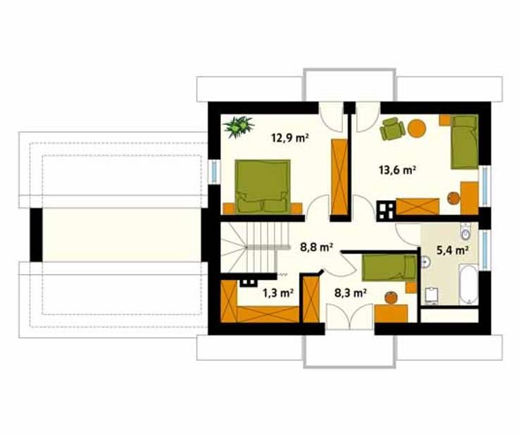 Rzut poddasza projektu domu Azalia 3: styl , w kategorii Ściany zaprojektowany przez Biuro Projektów MTM Styl - domywstylu.pl,Klasyczny