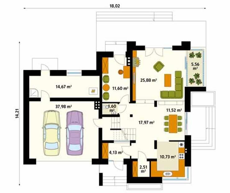 Rzut parteru projektu domu Jaspis 6: styl , w kategorii Ściany zaprojektowany przez Biuro Projektów MTM Styl - domywstylu.pl