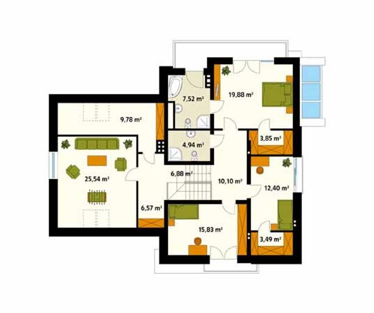 Rzut poddasza projektu domu Jaspis 6: styl , w kategorii Ściany zaprojektowany przez Biuro Projektów MTM Styl - domywstylu.pl
