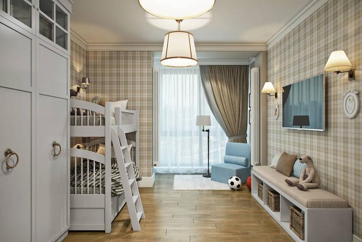 Dormitorios infantiles de estilo  por Студия Семена Вишнякова '1618 ROOM'