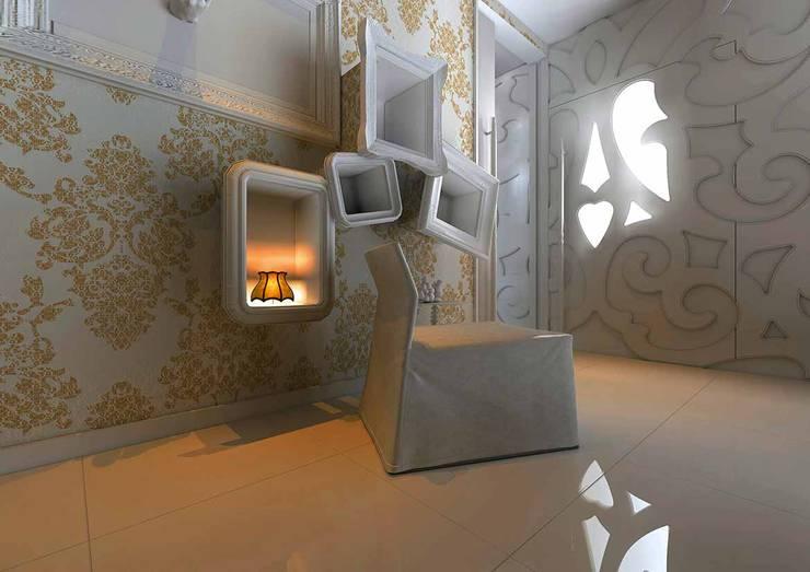 AF MORADIA: Corredor, hall e escadas  por Tralhão Design Center