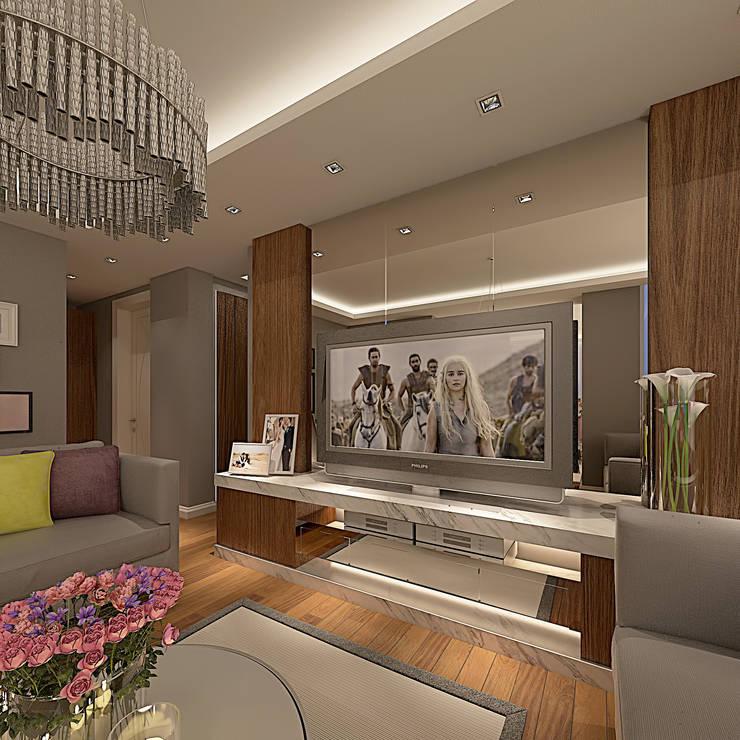 Ofis 352 Mimarlık Hizmetleri – ORHAN-OLIVIA EVİ:  tarz Oturma Odası