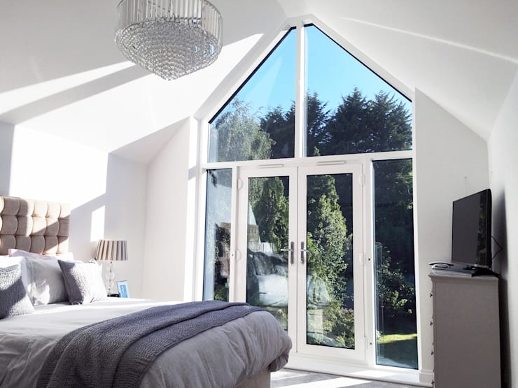 Master Bedroom with Vaulted Ceiling - As Built:   by Arc 3 Architects & Chartered Surveyors