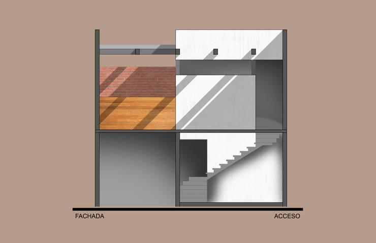 Corte de acceso a patio superior: Casas de estilo  por ODRACIR