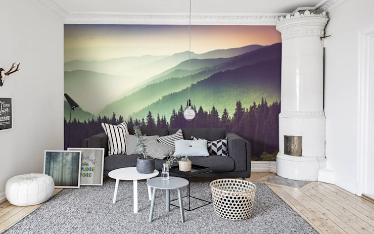 Mountains and haze:  Living room by Pixers