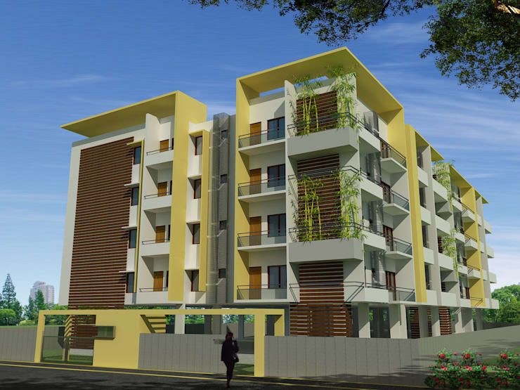 Shyam Ambika Apartment:  Houses by Icarus Architects,Modern