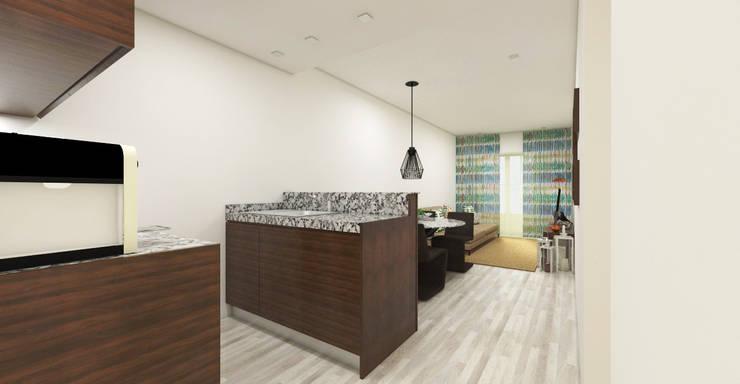 Reabilitação Apartamento T1 - Porto: Cozinhas  por Atelier 12