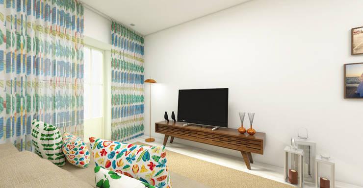 Reabilitação T1 – Porto: Salas de estar  por Atelier 12