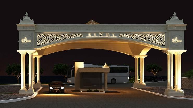 ARTIBODRUM MİMARLIK MÜH.İNŞ.TAAH.TİC.LTD.ŞTİ – HOTEL GATE:  tarz Oteller, Rustik Demirli Beton