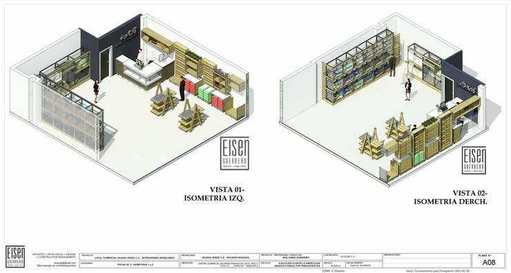 ISOMETRIAS 3D 1 y 2 LC -IGV-01: Oficinas y Tiendas de estilo  por Eisen Arquitecto