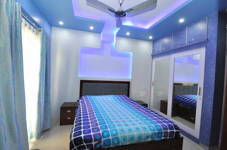 Hennur, Banaglore Project:  Bedroom by Kriyartive Interior Design