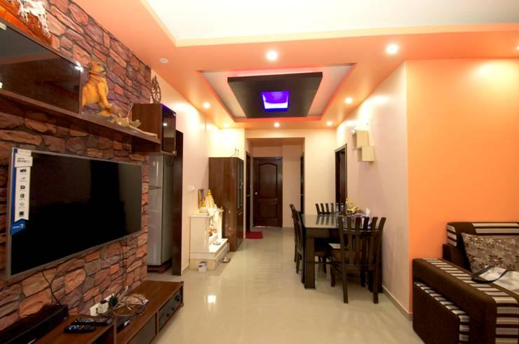 Hennur, Banaglore Project: modern Living room by Kriyartive Interior Design