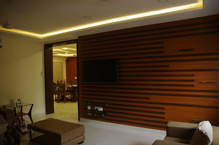 Residential 3bhk, Madhapur: modern Living room by DeTekton
