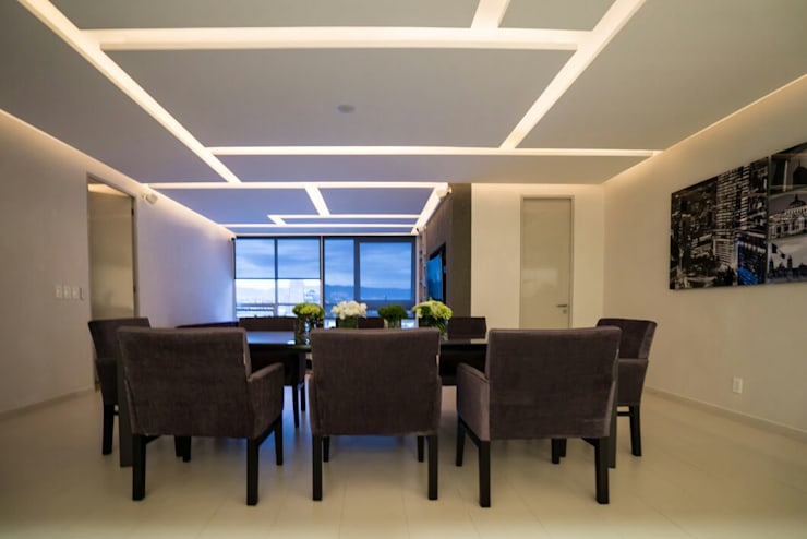 DEPARTAMENTO EN PARQUES POLANCO, CDMX: Comedores de estilo  por HO arquitectura de interiores