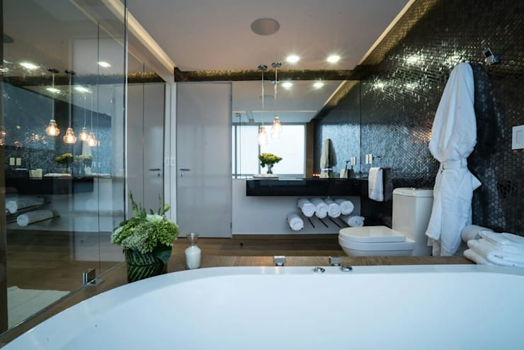DEPARTAMENTO EN PARQUES POLANCO, CDMX: Baños de estilo  por HO arquitectura de interiores