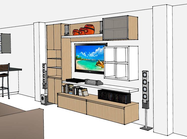 Render mueble televisión: Salas multimedia de estilo  por Remodelar Proyectos Integrales