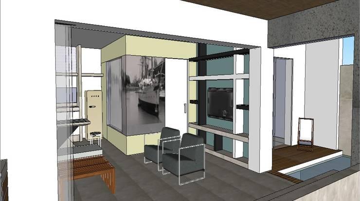 Edificio Bifamiliar Pon- Sala y Terrazas: Casas de estilo  por 1en1arquitectos