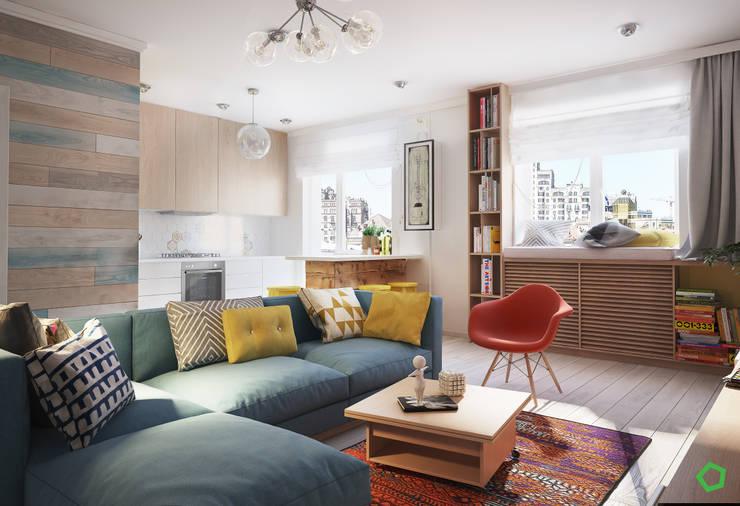 غرفة المعيشة تنفيذ Polygon arch&des