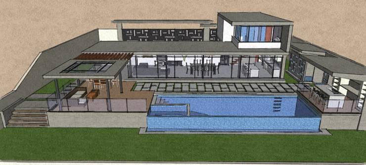 Exteriores de Casa Moderna - Diseño Arquitectonico: Casas de estilo  por Atahualpa 3D