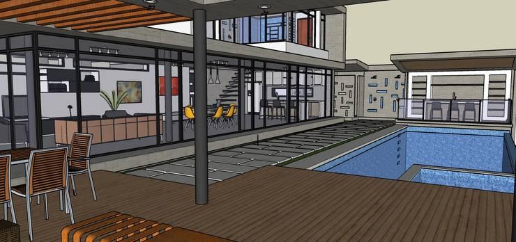 Exteriores de Casa Moderna – Diseño Arquitectonico: Terrazas de estilo  por Atahualpa 3D