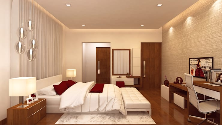 MASTER BEDROOM:   by De Panache  - Interior Architects