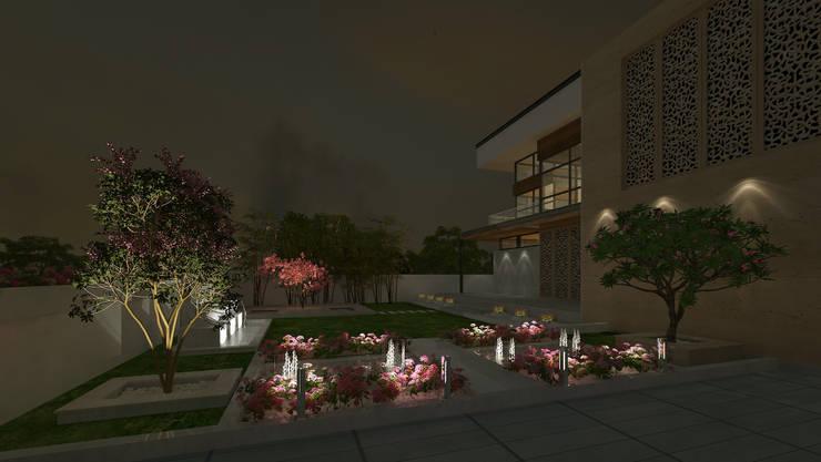 VILLA AT AMRITSAR (www.depanache.in):  Houses by De Panache  - Interior Architects,Classic Concrete