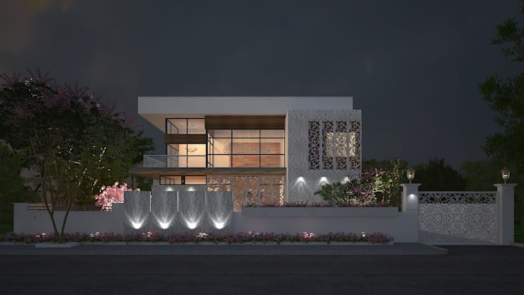 EXTERIOR NIGHT VIEW:  Houses by De Panache  - Interior Architects