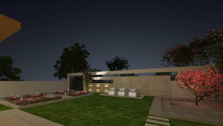 LANDSCAPE VIEW:  Garden by De Panache  - Interior Architects,Modern Stone