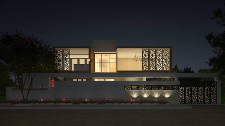 EXTERIOR NIGHT VIEW:  Houses by De Panache  - Interior Architects,Classic Concrete
