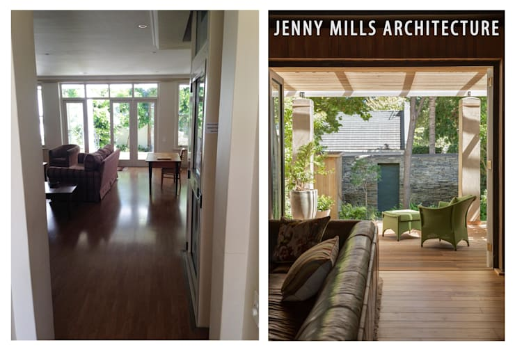 Living room before and after:  Living room by Jenny Mills Architects
