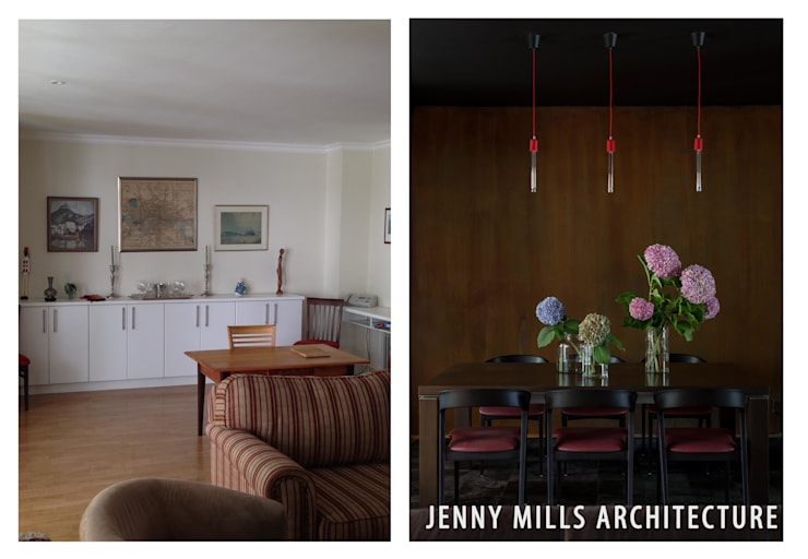 Dining Room area - Before and After:  Dining room by Jenny Mills Architects