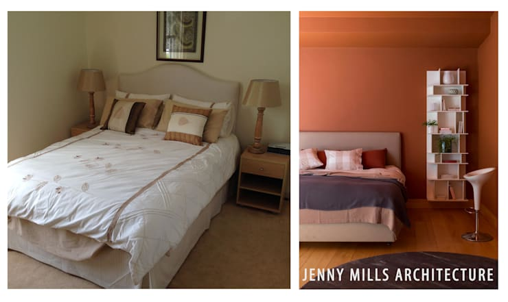 Bedroom 2 - Before and after:  Bedroom by Jenny Mills Architects