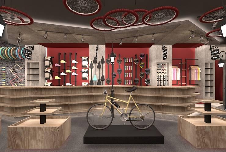 ESA PARK İÇ MİMARLIK – DELTA BİSİKLET SHOWROOMU:  tarz Ofisler ve Mağazalar, Modern