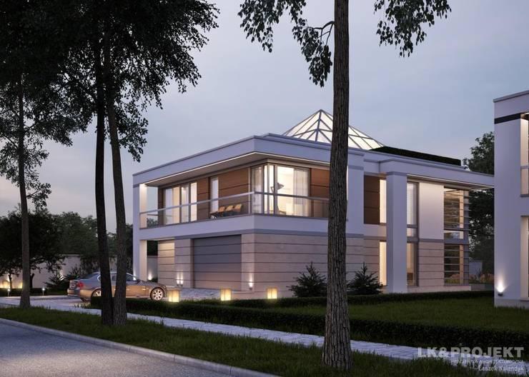 LK&1298 - projekt domu w nowoczesnym stylu: styl , w kategorii Ogród zaprojektowany przez LK & Projekt Sp. z o.o.
