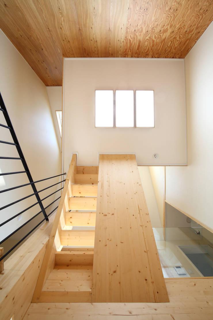 거실에서 올려다본 모습: 주택설계전문 디자인그룹 홈스타일토토의  거실,모던 우드 우드 그레인