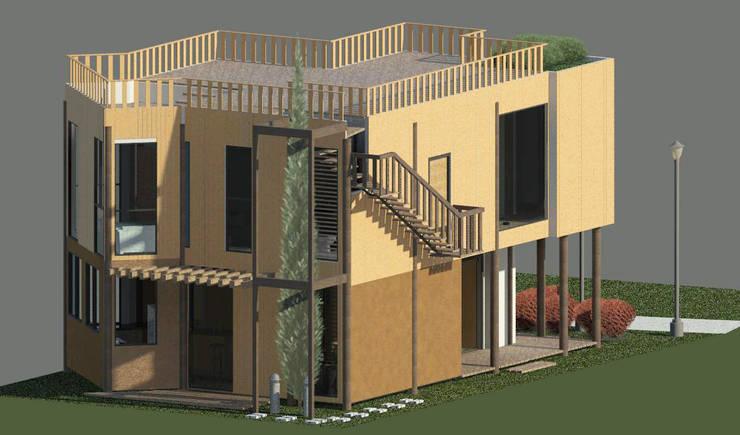 Fachada posterior: Casas de estilo  por Loft estudio C.A.