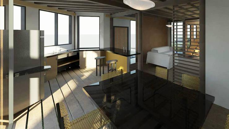 Vista interior de la vivienda: Cocinas de estilo minimalista por Loft estudio C.A.