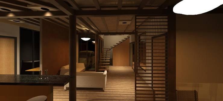 Vista interior de la vivienda: Salas / recibidores de estilo  por Loft estudio C.A.