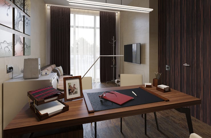 Projekty,  Domowe biuro i gabinet zaprojektowane przez D-SAV     ДИЗАЙН ИНТЕРЬЕРА И АРХИТЕКТУРА
