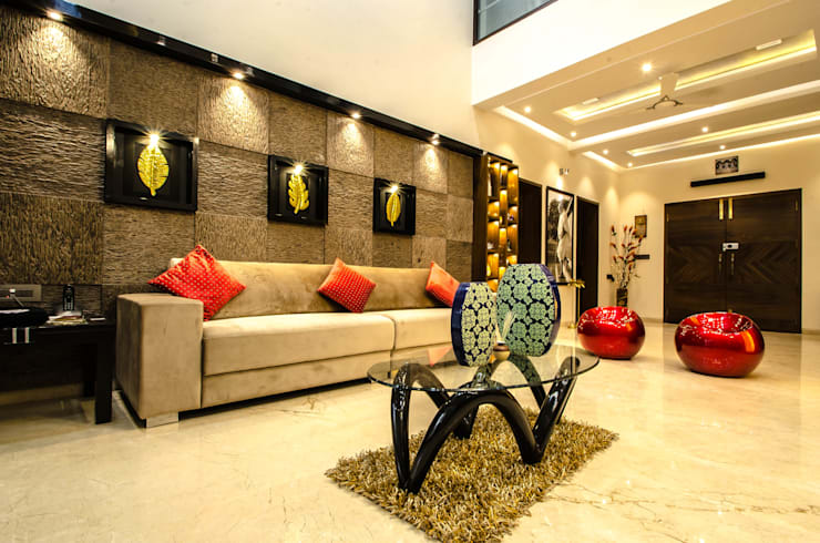Living room by Maulik Vyas Architects