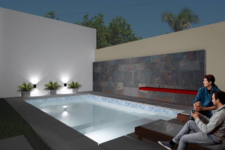 Casa FH - REFORMA PATIO : Piletas de estilo  por D'ODORICO OFICINA DE ARQUITECTURA