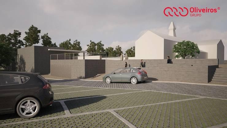 Arranjo exterior/alargamento de um cemitério: Casas  por Oliveiros Grupo