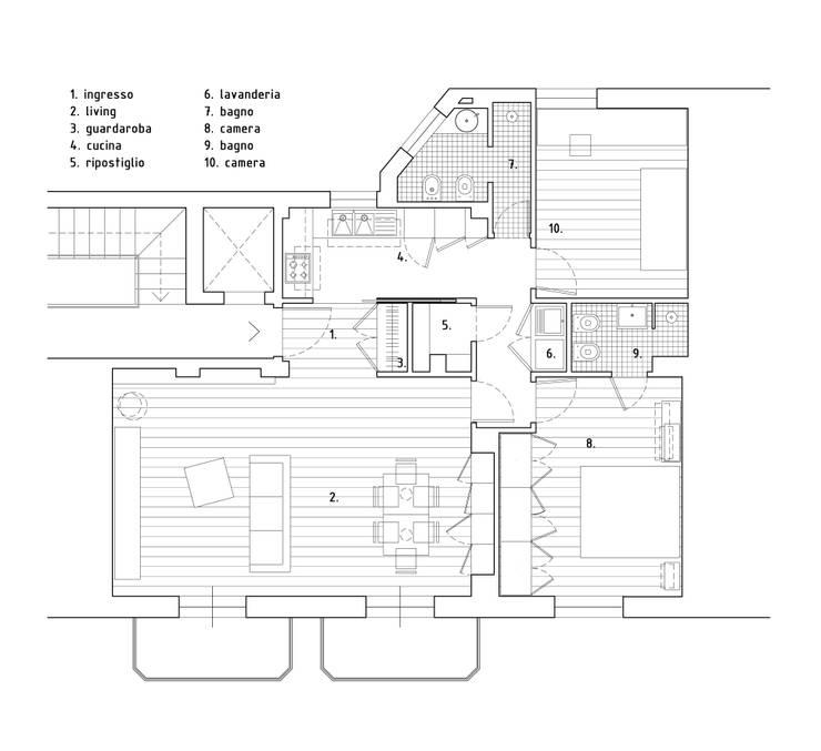 planimetria di progetto:  in stile  di Alessandro Ferro Architetto