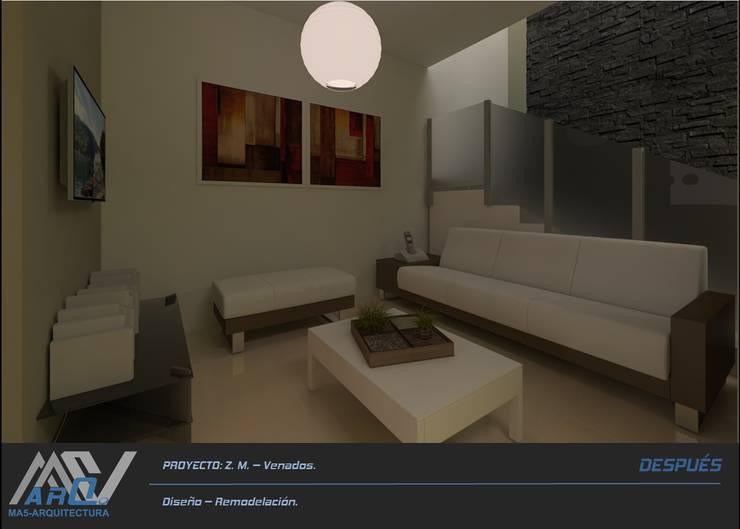 Z. M. – Hacienda Los Venados: Salas de estilo  por MA5-Arquitectura