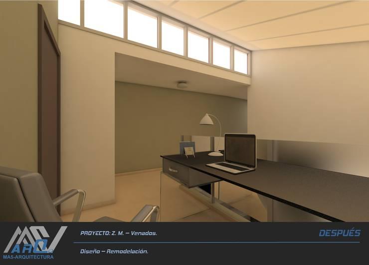 Z. M. – Hacienda Los Venados: Estudios y oficinas de estilo  por MA5-Arquitectura