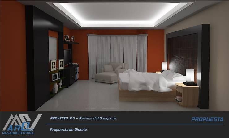 P. G. - Paseos del Guaycura: Recámaras de estilo  por MA5-Arquitectura