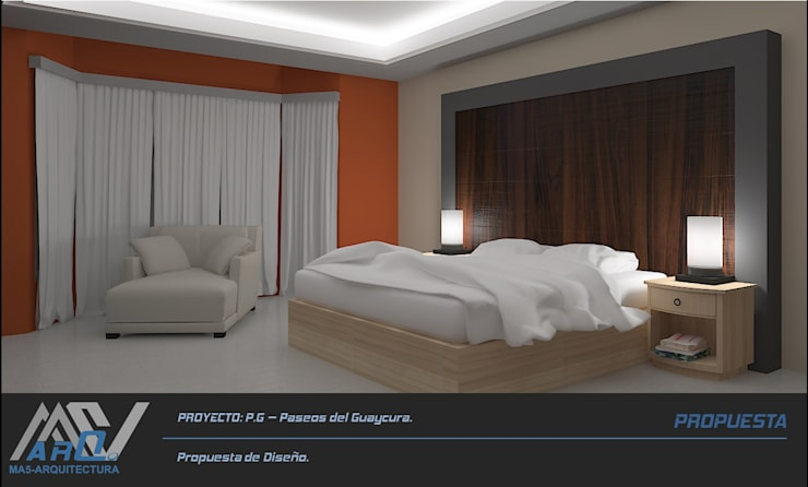 P. G. – Paseos del Guaycura: Recámaras de estilo  por MA5-Arquitectura