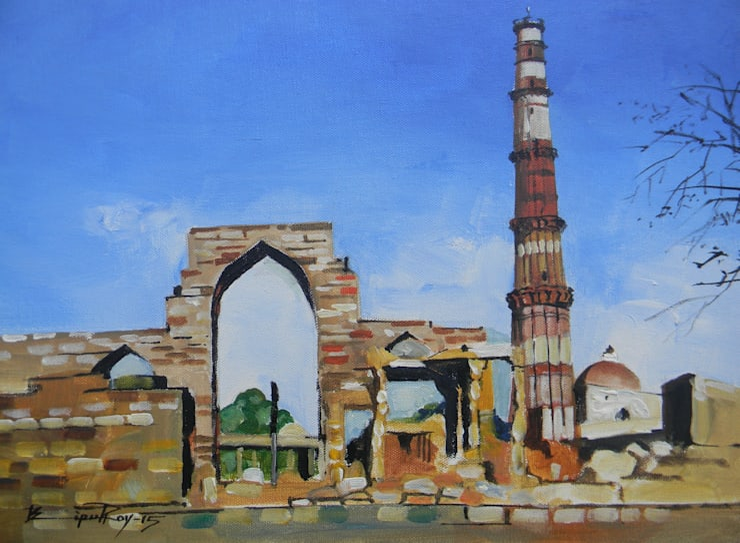 Qutub Minar, Delhi:  Artwork by Indian Art Ideas