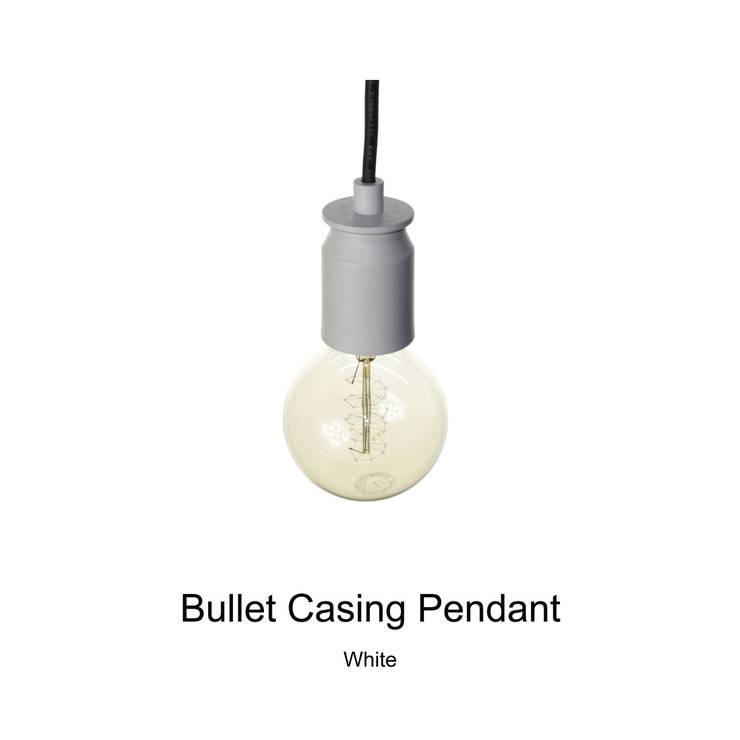 Bullet Casing Pendant_White: SANUC의  발코니, 베란다 & 테라스