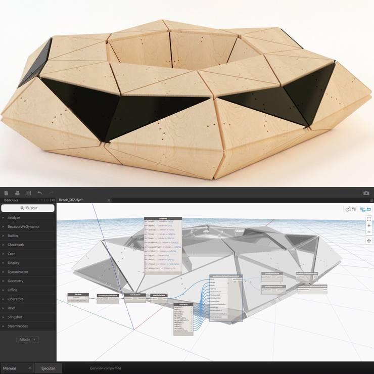 Banca hexagonal modelo 001: Jardín de estilo  por GZ2 Arquitectura